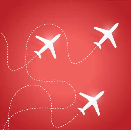 trajectoire: emprunter des routes et des avions. illustration de conception sur un fond rouge