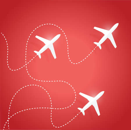 fly routes and airplanes. illustration design over a red background