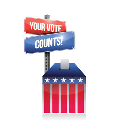 secrecy of voting: your vote counts ballot illustration design over a white background