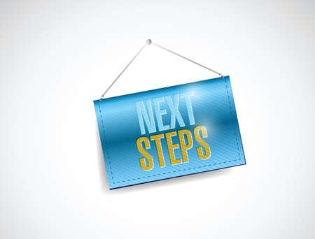 the next step: prossimo passo appeso banner illustrazione disegno su uno sfondo bianco