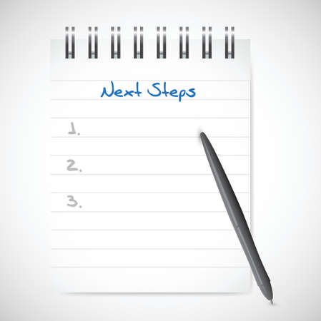 next steps notepad illustration design over a white background
