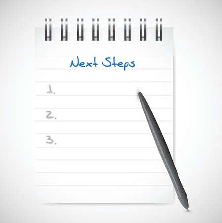 Prochaines étapes bloc-notes design illustration sur un fond blanc Banque d'images - 33224722