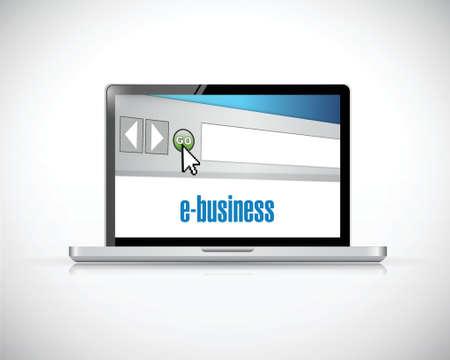 ebusiness: e-business laptop computer illustration design over a white background