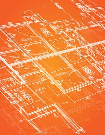 blueprint illustration design over a orange background