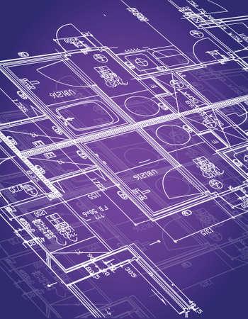 blueprint illustration design over a purple background Vettoriali