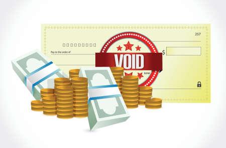 Cheque bancario sin efecto y el diseño de dinero ilustración sobre un fondo blanco Foto de archivo - 33225191