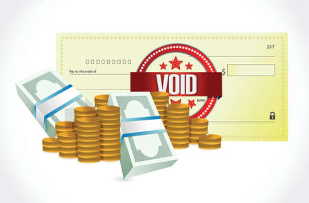 void: void bank check and money illustration design over a white background