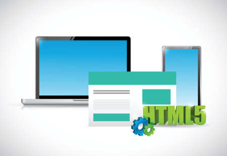 html5: html5 electronics and browser illustration design over a white background