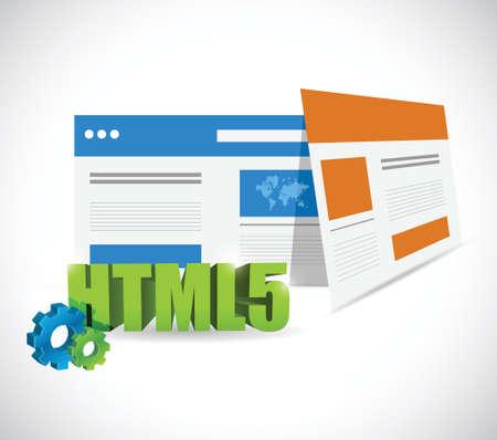 白色の背景上の html5 web テンプレート イラスト デザイン  イラスト・ベクター素材