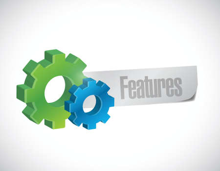features and gears sign illustration design over a white background Illusztráció
