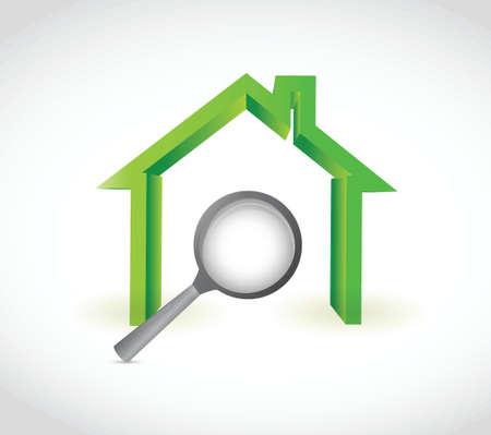 maison et magnifier illustration design sur un fond blanc Illustration