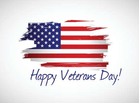 heureuse conception jour de vétérans drapeau illustration sur un fond blanc Illustration
