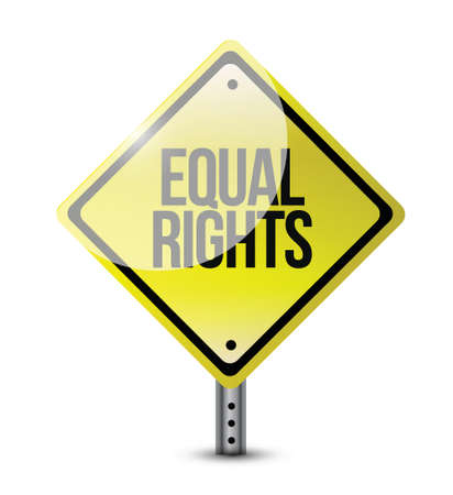 discriminate: equal rights yellow signs illustration design over a white background Illustration
