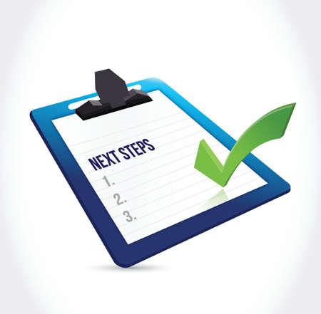 Prochaines étapes presse-papiers illustration design sur un fond blanc Banque d'images - 33227766