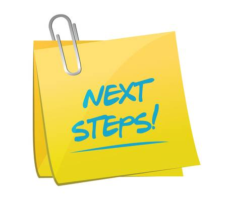 next steps post illustration design over a white background