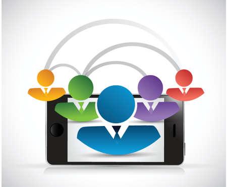peer to peer: enlace de la red de personas, ilustración, diseño teléfono sobre un fondo blanco Vectores