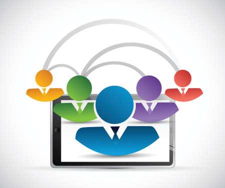 peer to peer: personas, ilustración, diseño de la tableta enlace de red sobre un fondo blanco
