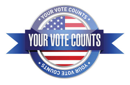 your vote counts seal stamp illustration design over a white background