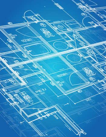 blueprint blueprint illustration design over a blue background Vettoriali