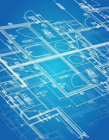 interior designer: blueprint blueprint illustration design over a blue background Illustration