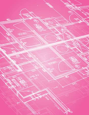 blauwdruk illustratie ontwerp op een roze achtergrond