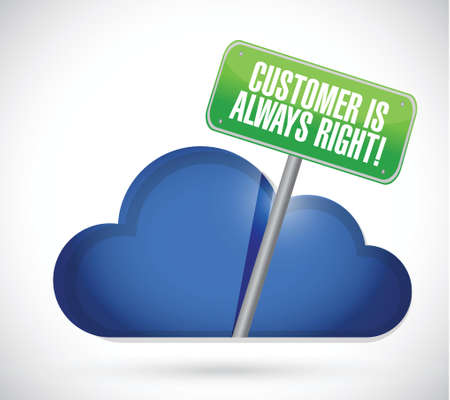 promise: customer is always right cloud illustration design over a white background