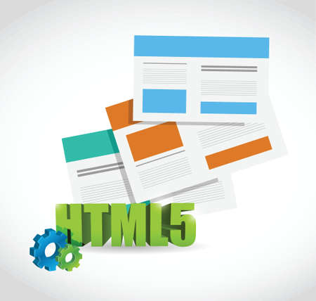 html 5: html 5 set of browsers illustration design over a white background