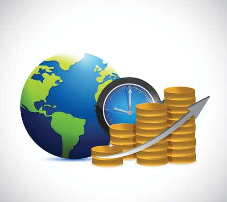 stockmarket chart: time is money graph illustration design over a white background Illustration