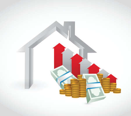 expressing negativity: house and falling money graph. illustration design over a white background Illustration