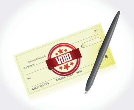 void bank check and a pen illustration design over a white background Ilustração