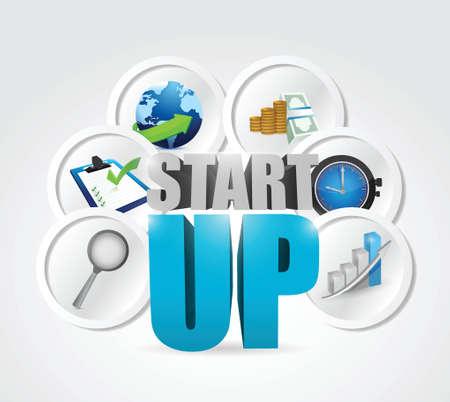 startup business concept illustration design over a white background Vector