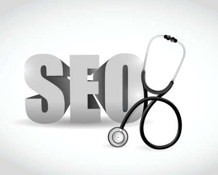 medical equipment: seo and stethoscope sign illustration design over a white background
