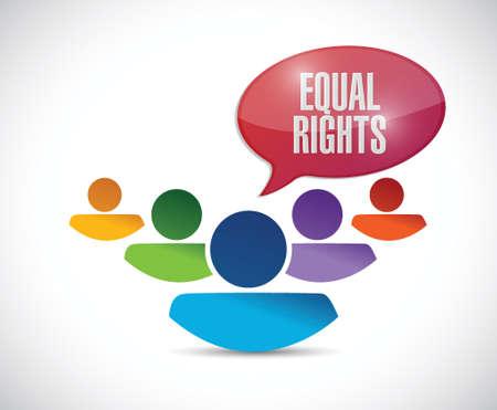discriminate: equal rights diversity people illustration design over a white background