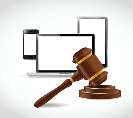 elektronica en wet hamer illustratie ontwerp op een witte achtergrond
