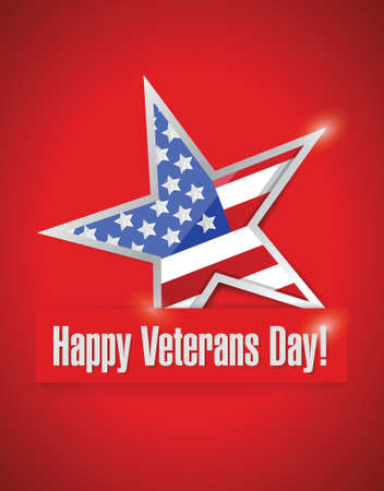 happy veterans day card illustration design over a red background