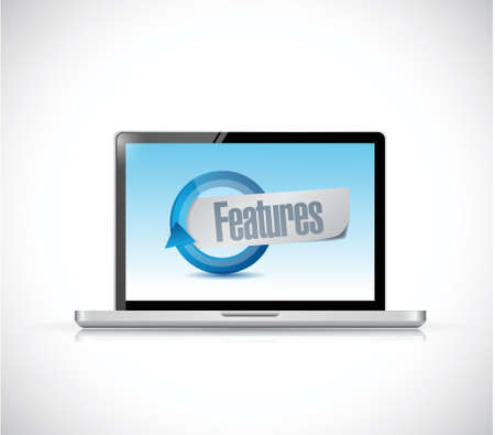 computer features sign illustration design over a white background Illustration