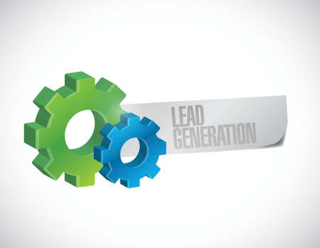 gears and lead generation sign illustration design over a white background