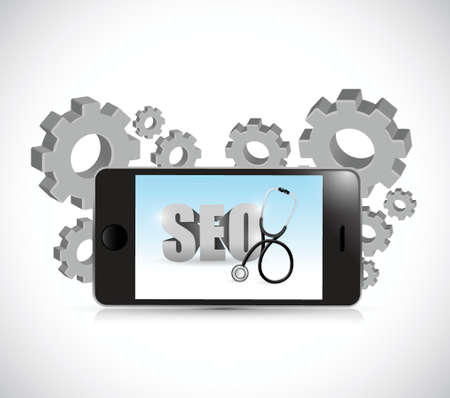 seo improvement phone and gears illustration design over a white background Vector
