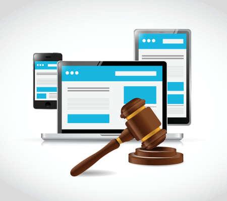 ley: copyright internet ilustración ley de protección de diseño sobre un fondo blanco