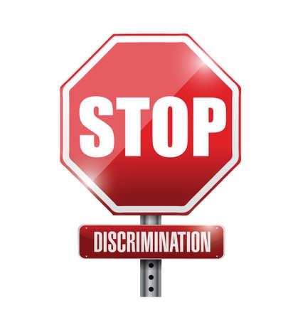 stop discrimination sign illustration design over a white background Illustration