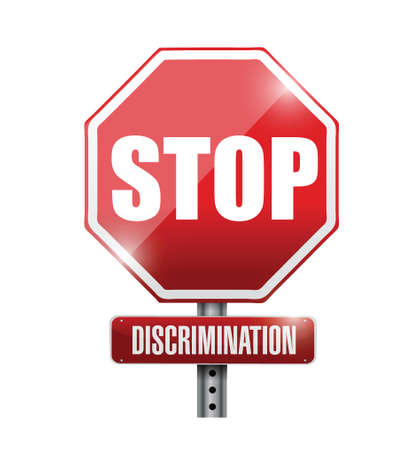 stop discrimination sign illustration design over a white background Çizim