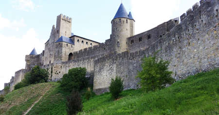 walled: medieval fortress and walled city of Carcassone in southwest France.