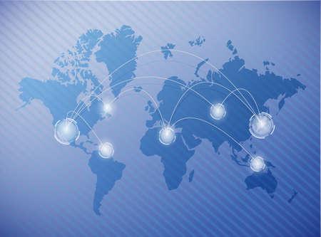 blue network: world map network connection illustration design over a blue background