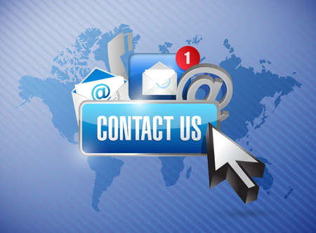 contact: contact us and icons illustration design over a world map background