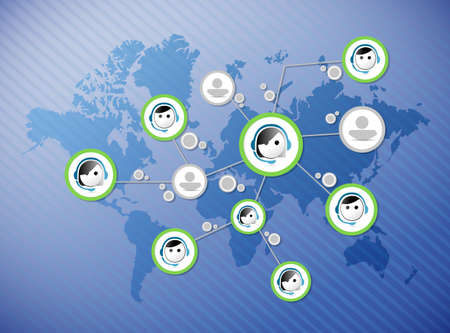 costumer: costumer service connection cycle contact us tablet and icons illustration design over a blue background Stock Photo