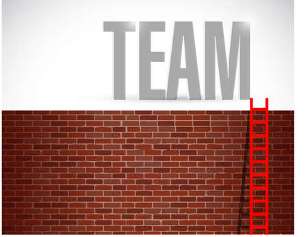 teambuilding: wall and team ladder illustration design over a white background