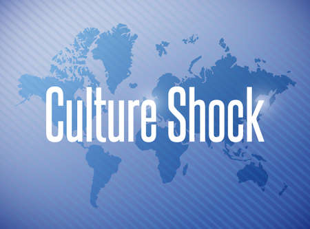 culture: culture shock sign illustration design over a world map background Stock Photo