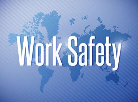 safe world: work safety sign illustration design over a world map background