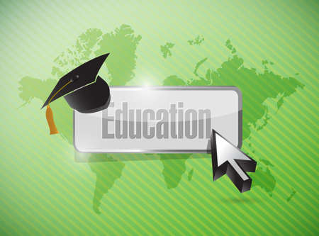 緑の背景の上の教育コンセプト イラスト デザイン