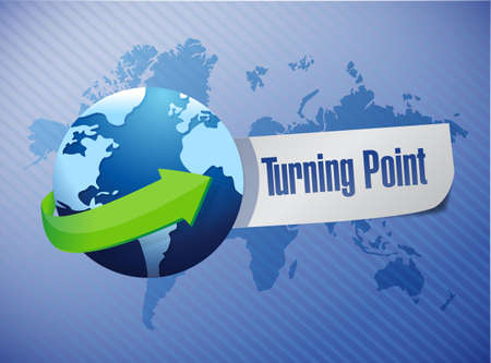 globe and turning point illustration design over a blue background illustration